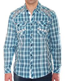 Austin Season Men's Plaid Embroidered Cross Button Down Shirt, , hi-res