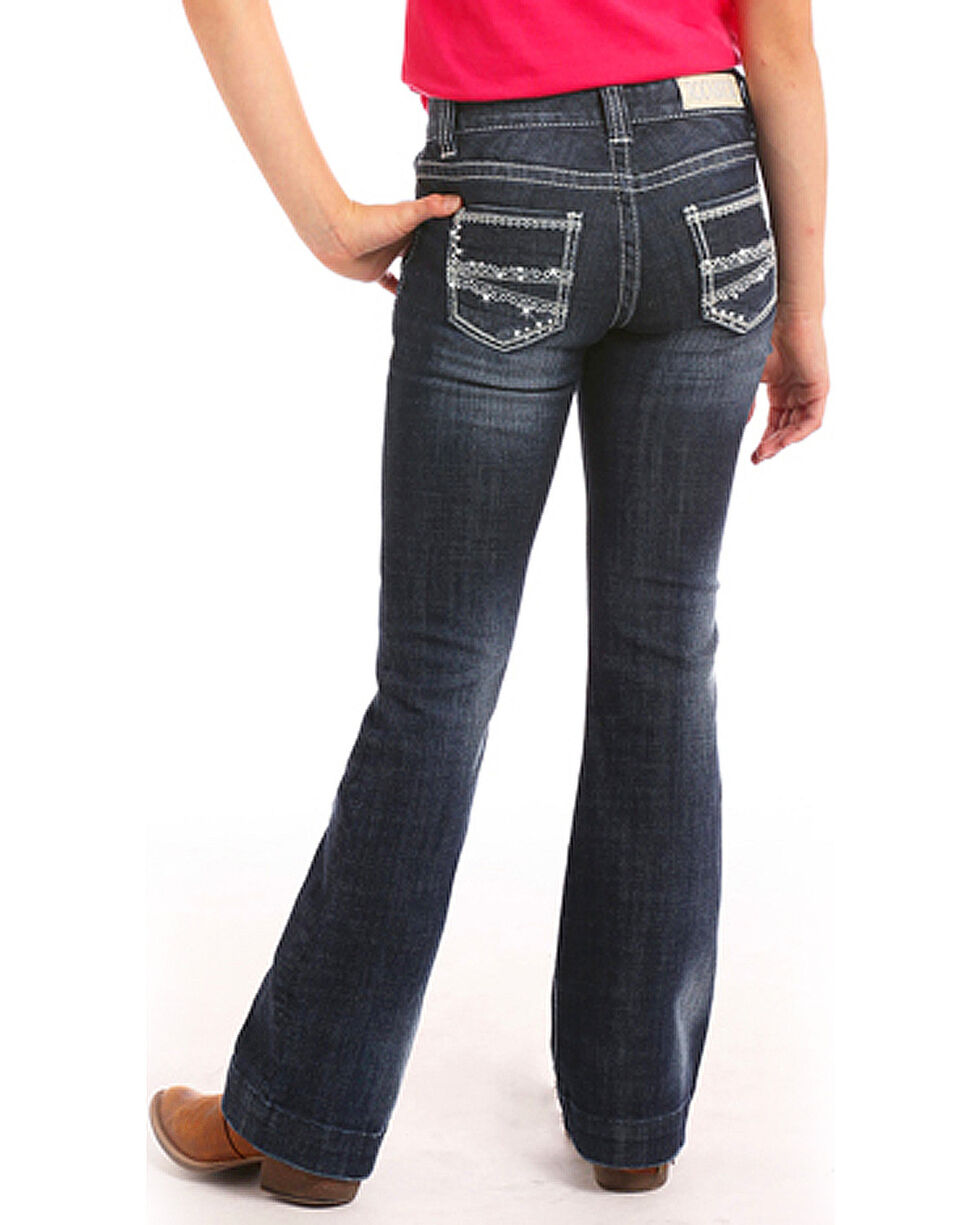 Rock & Roll Cowgirl Girls' (4-16) Diamond Stitch Trouser Jeans - Boot Cut , Indigo, hi-res