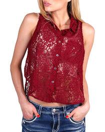 Teint Women's Sheer Lace Sleeveless Top, , hi-res