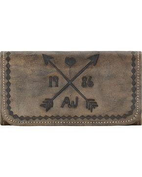 American West Women's Cross My Heart  Tri-fold Wallet, Rustic Brn, hi-res