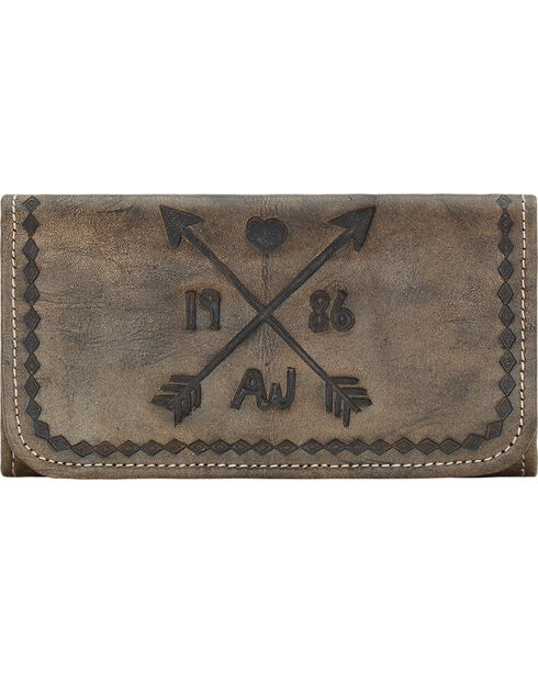 American West Women's Cross My Heart  Tri-fold Wallet, Rustic Brn, hi-res