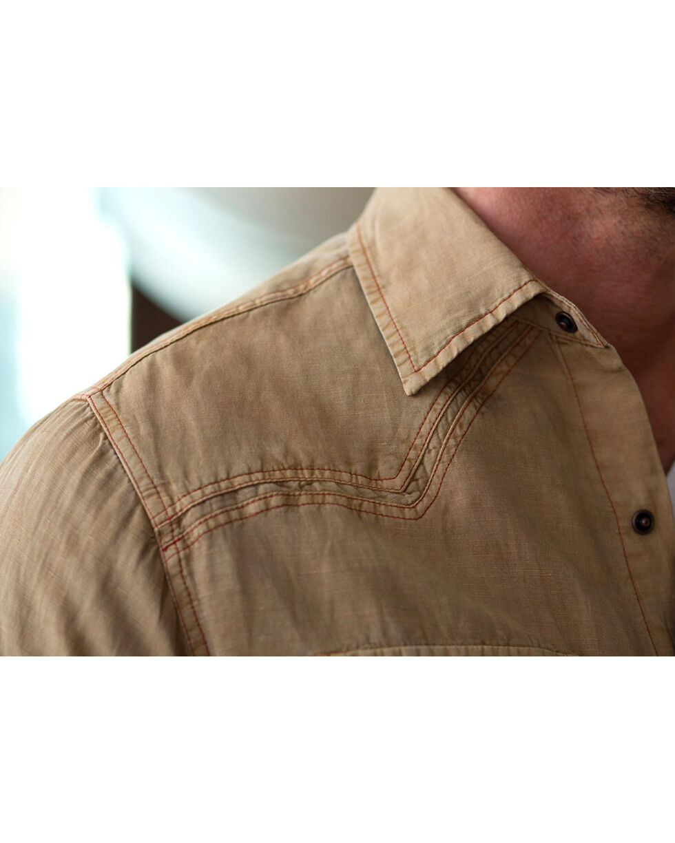 Ryan Michael Men's Split Rail Silk Shirt, Tobacco, hi-res