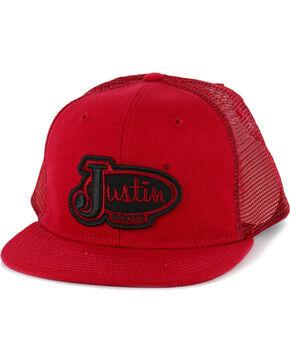 Justin Men's Logo Patch  Ball Cap, Red, hi-res