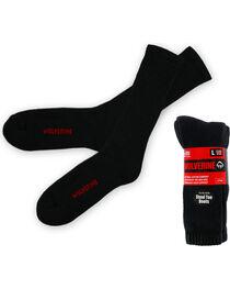 Wolverine Men's Steel Toe Boot Crew Socks, Black, hi-res