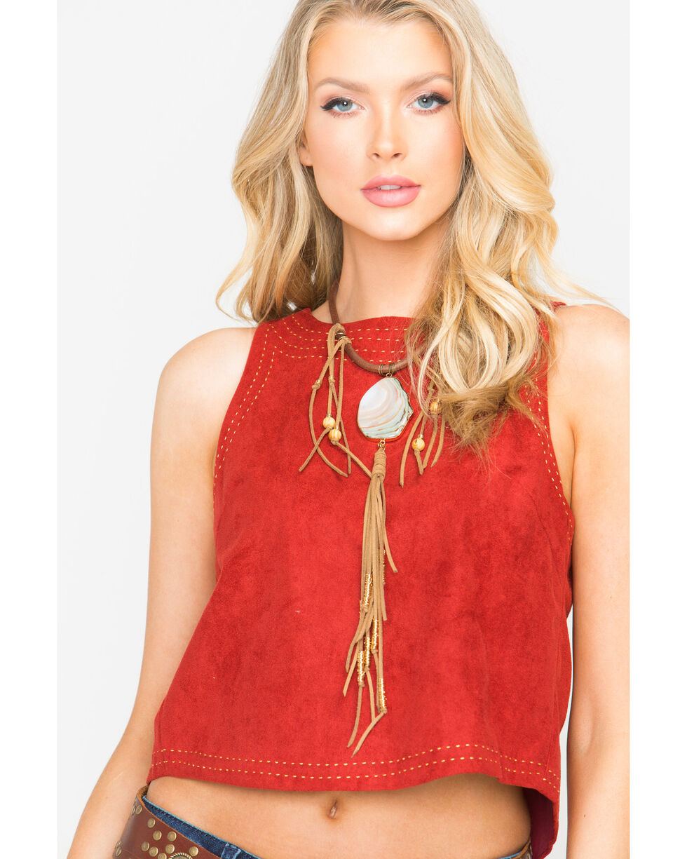 Freeway Apparel Women's Suede Top with Topstitching, Red, hi-res