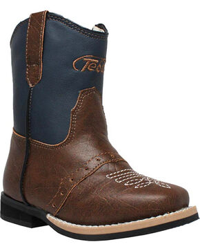 "Ad Tec Toddler's 6"" Side Zip Western Boots, Navy, hi-res"