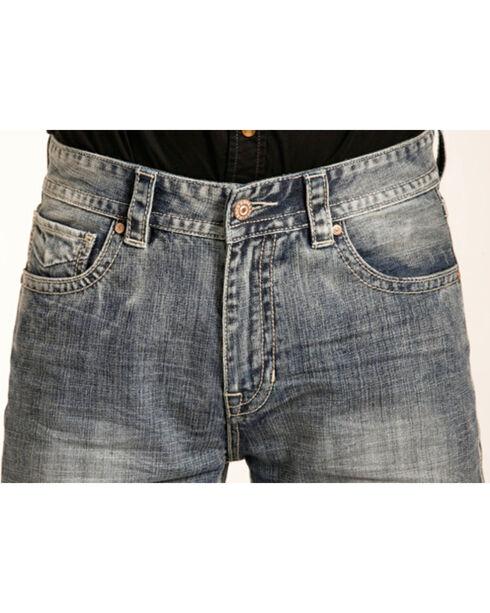 "Rock & Roll Cowboy Men's ""V"" Embroidered Double Barrel Straight Leg Jeans, Indigo, hi-res"
