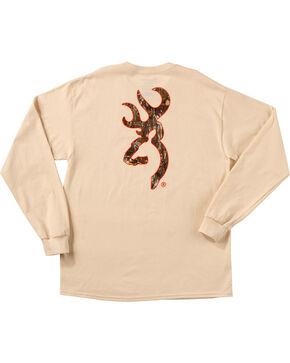 Browning Men's Natural Tan Realtree Buckmark Long Sleeve T-Shirt , Natural, hi-res