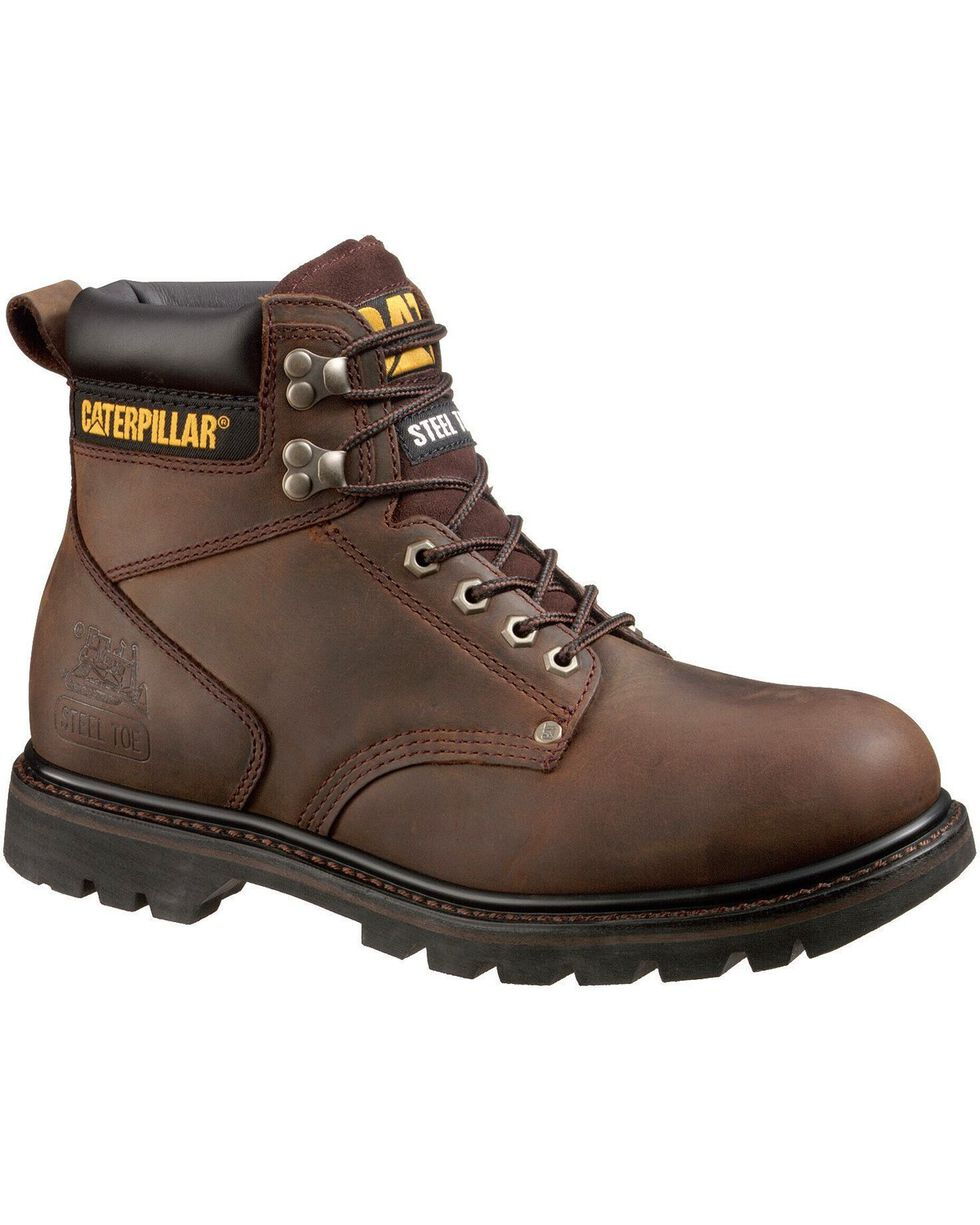 CAT Men's Second Shift Steel Toe Work Boots, Dark Brown, hi-res