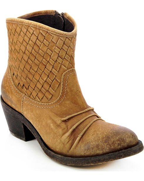 Circle G Women's Distressed Woven Short Top Boots, Distressed, hi-res