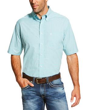 Ariat Men's Solid Print Short Sleeve Shirt, Aqua, hi-res