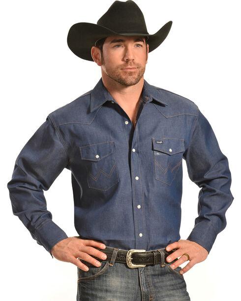 Wrangler Men's Cowboy Cut Work Twill Shirt, Indigo, hi-res