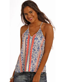 Panhandle Slim Women's Blue Cutaway Tank, , hi-res