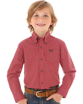 Wrangler Boys' Red Dot Print Long Sleeve Shirt, Red, hi-res