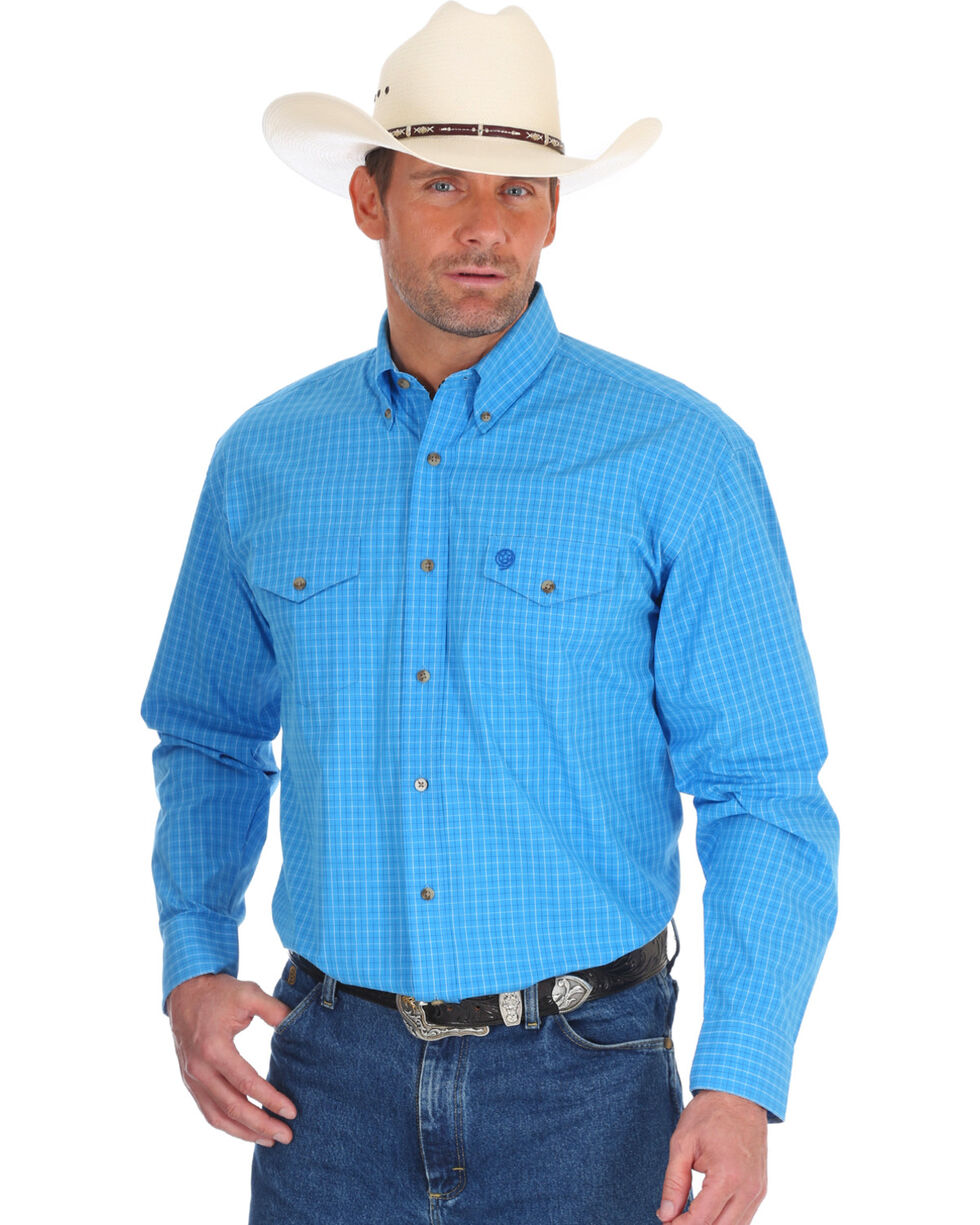 Wrangler Men's George Strait Blue Plaid Western Shirt , Blue, hi-res