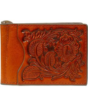 Nocona Men's Pro Series Bi-Fold Money Clip, Tan, hi-res