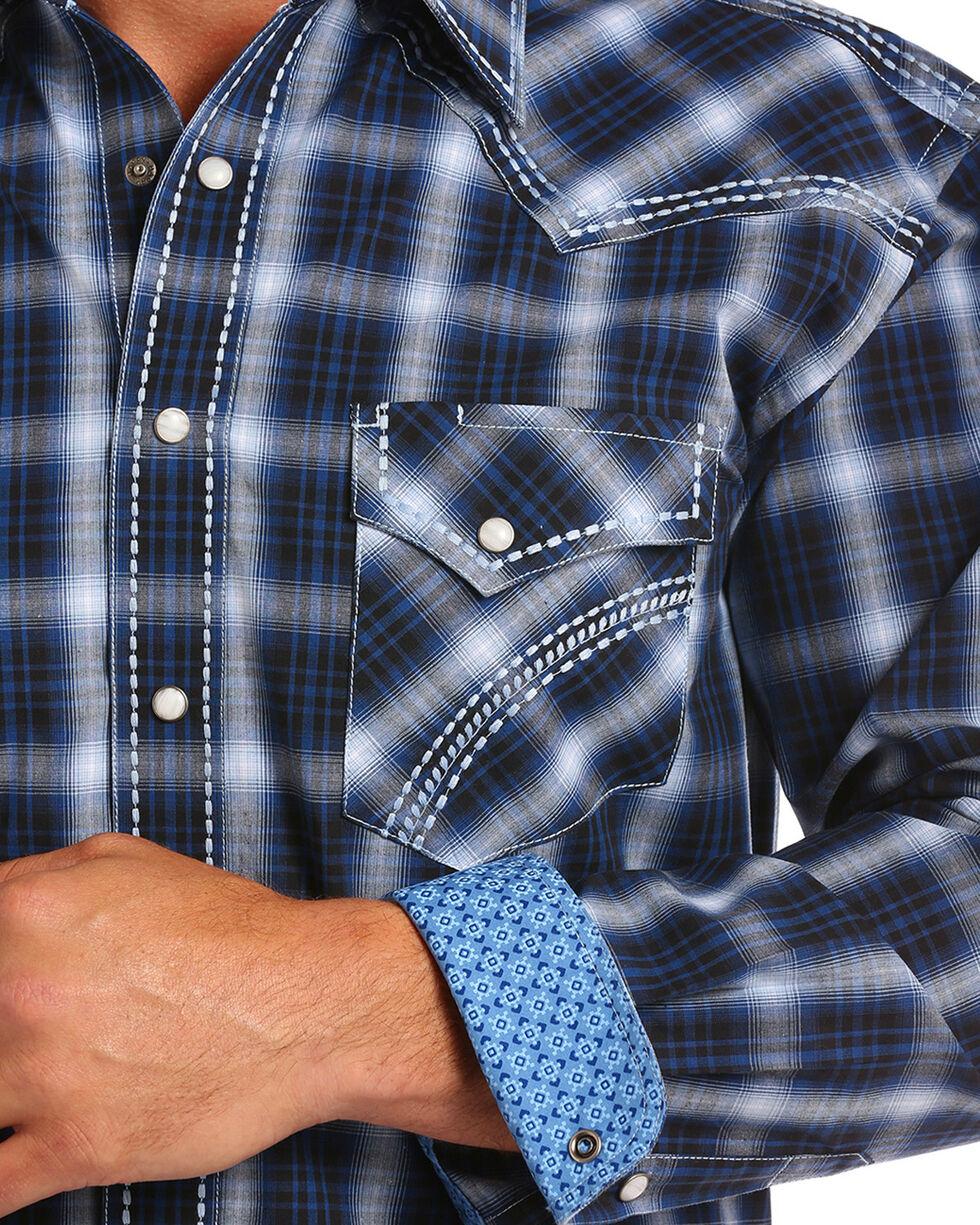 Rough Stock by Panhandle Men's Blue Castle Peak Shirt , Blue, hi-res