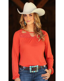 Wrangler Women's Lace Cutouts Long Sleeve Peasant Top, , hi-res