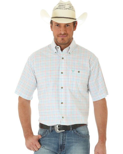 Wrangler 20X Men's Short Sleeve Plaid Button Shirt, Orange, hi-res