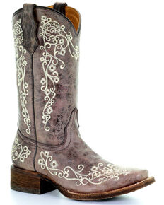 Corral Kids Embroidered Square Toe Western Boots, Brown, hi-res