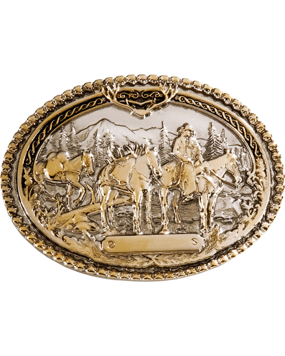 Montana Silversmiths Pack Horse and Rider Buckle, Silver, hi-res