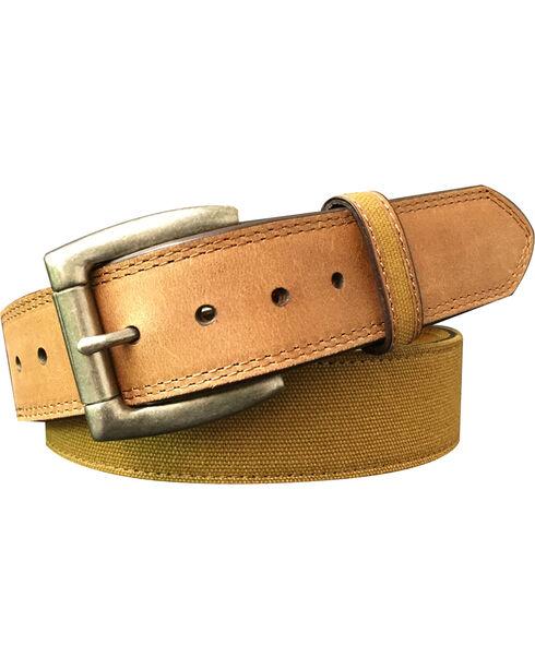 G Bar D Men's Brown Canvas Strap Leather Belt, Brown, hi-res