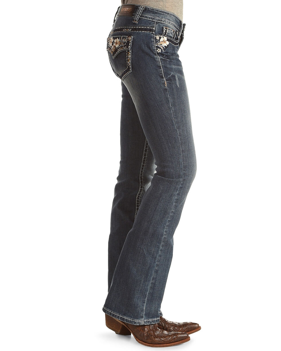 Shyanne® Women's Low Rise Floral Boot Cut Jeans, Indigo, hi-res