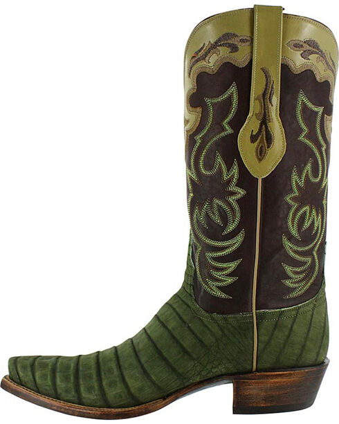 Lucchese Men's Caiman and Suede Western Boots, Olive, hi-res