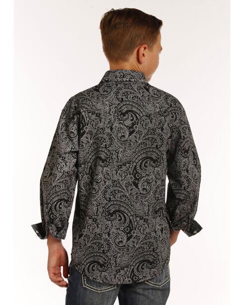 Rock & Roll Cowboy Boys' Black Paisley Print Long Sleeve Snap Shirt, Black, hi-res