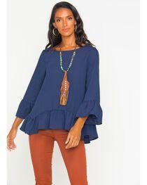 Polagram Women's Long Sleeve Ruffle Top, , hi-res