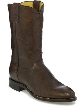 Justin Men's Deerlite Roper Western Boots, Dark Brown, hi-res