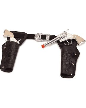 Double Holster Toy Cap Gun Set, Black, hi-res