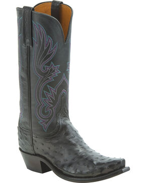Lucchese Women's Dolly Full Quill Ostrich Western Boots - Snip Toe, Black, hi-res