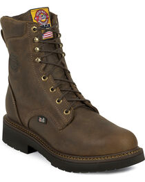 "Justin J-Max Rugged Gaucho 8"" Lace-Up Work Boots - Steel Toe, Brown, hi-res"