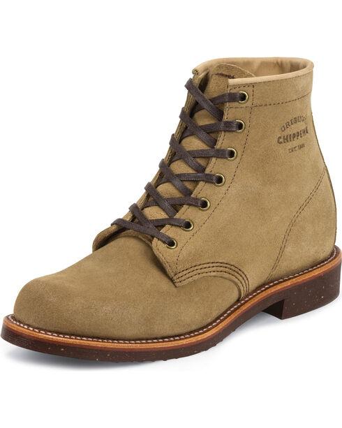 """Chippewa Men's 6"""" Lace-Up  Suede Service Boots, Khaki, hi-res"""