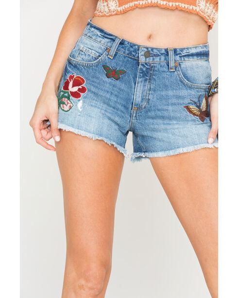 MM Vintage Women's Indigo Butterfly Embroidered Shorts  , Indigo, hi-res