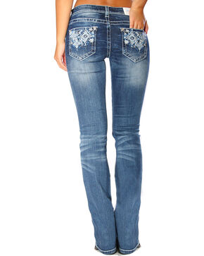 Grace in LA Women's Indigo Diamond Pocket Jeans - Boot Cut , Indigo, hi-res