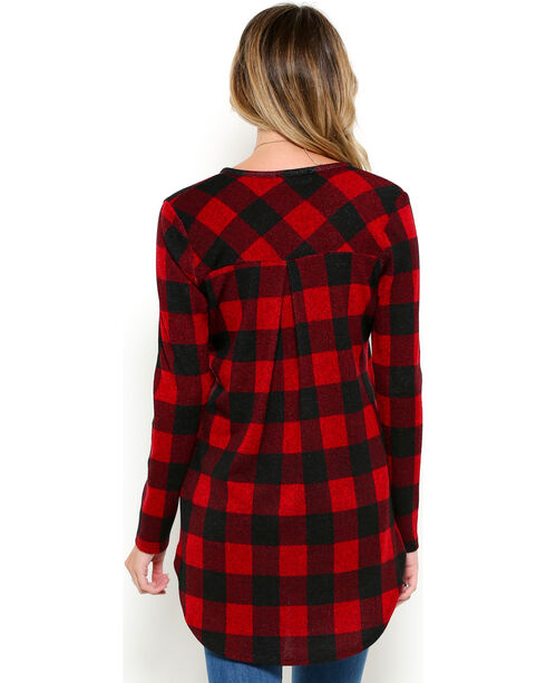 CES FEMME Women's Red Plaid High-Low Hem Shirt , Red, hi-res