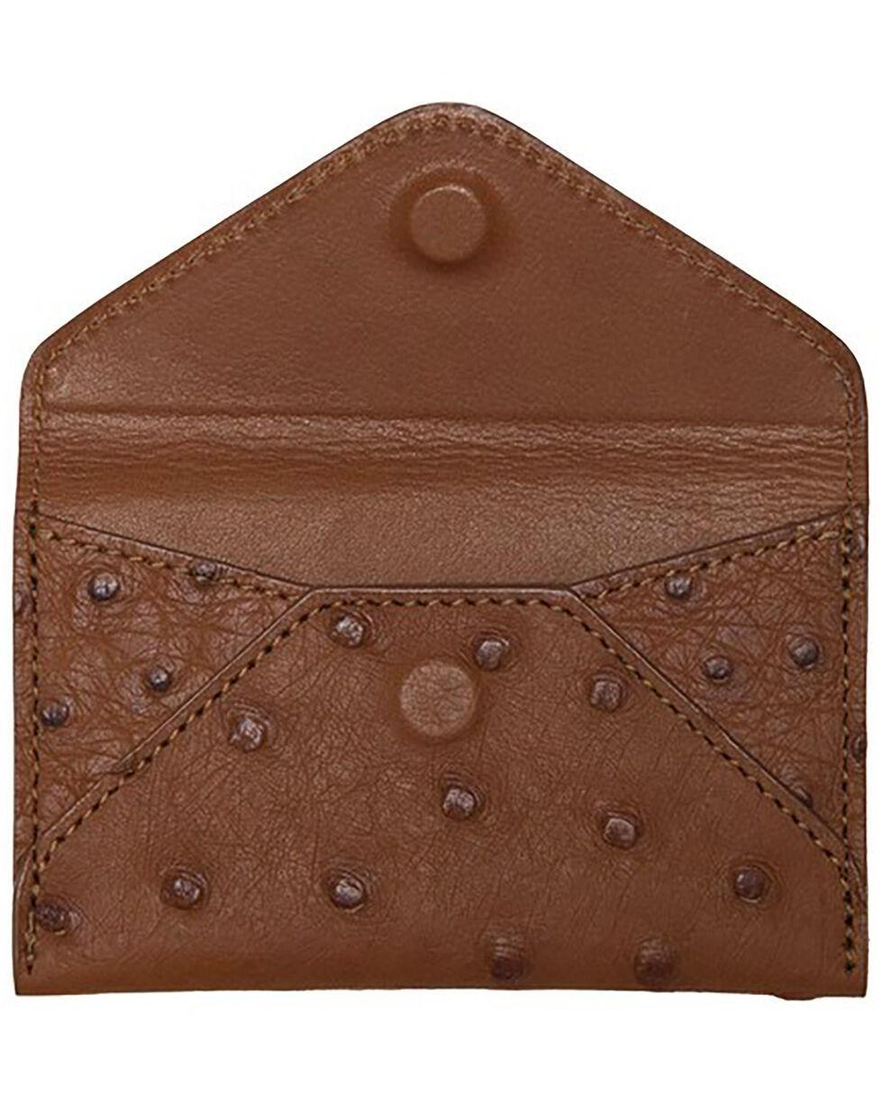 Lucchese Men's Cognac Ostrich Business Card Case, Cognac, hi-res