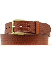 Double S Basketweave Embossed Money Pocket Leather Belt, , hi-res