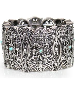 Shyanne® Women's Vintage Medallion Cuff Bracelet, Silver, hi-res
