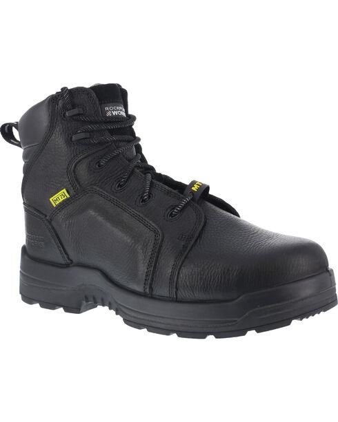 "Rockport More Energy Black 6"" Lace-Up Work Boots - Composition Toe, Black, hi-res"