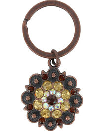 Shyanne® Bronze Rhinestone Flower Keychain, , hi-res