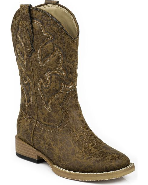 Roper Boys' Scout Embroidered Western Boots, Tan, hi-res