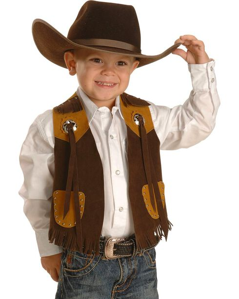 M & F Western Boys' Brown Faux Suede Cowboy Vest, Brown, hi-res