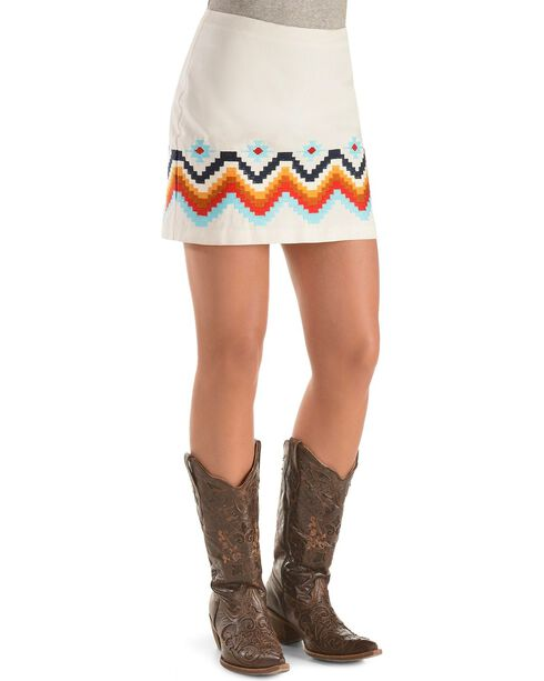Ariat Women's Aztec Embroidered Chahta Skirt, White, hi-res