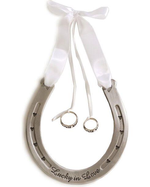 Western Wedding Ring Bearer Horseshoe, White, hi-res