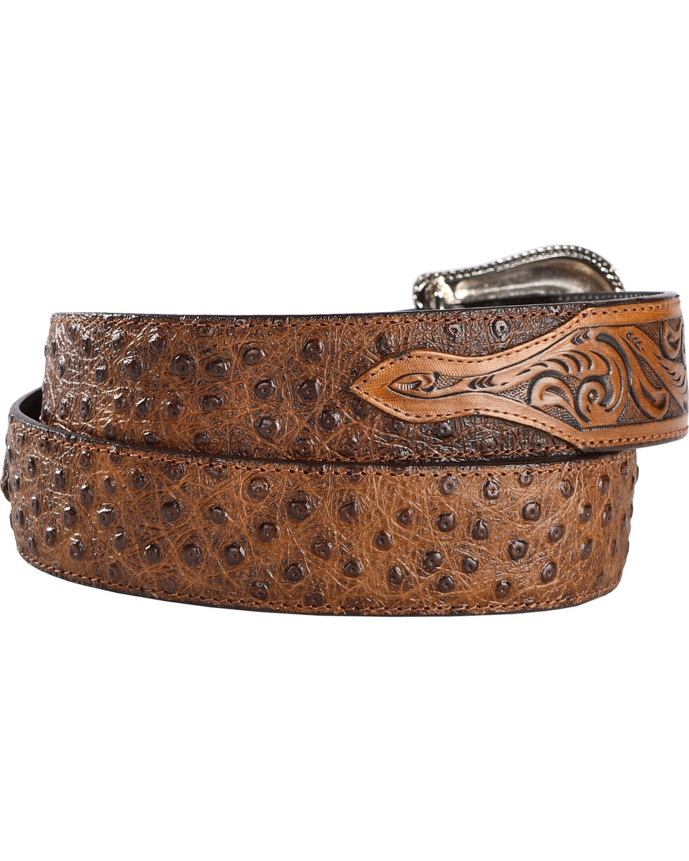 Cody James Men's Ostrich Print Tooled Leather Western Belt, Brown, hi-res