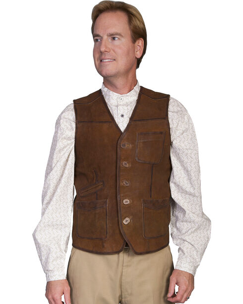Scully Lamb Suede Vest, Brown, hi-res