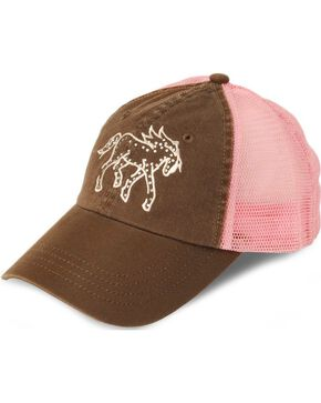 Girls' Rhinestone Pony Cap, Brown, hi-res